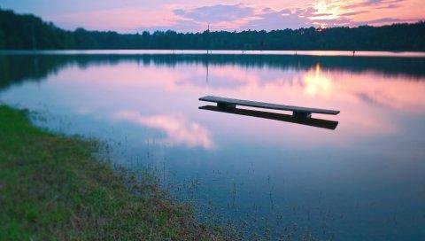 Скамейка, вода, озеро, вечер, спад, поверхность