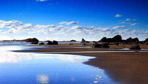 Песок, отток, камни, море, берег, бассейны, небо, синий, ярко, лето