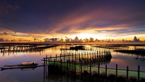 Защита, лодка, озеро, спокойствие, небо, облака, вечер, спад