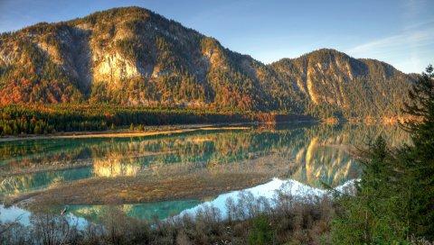 Река, горы, отражение, остров, лес, весна, высокая вода