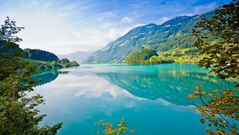 озера, горы, ветви, деревья, небо , лето, ярко, отражение, берег, лазурь, световые