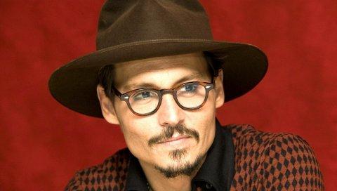 Джонни Деппом, солнцезащитные очки, шляпа, улыбка