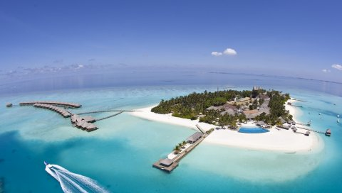 остров, курорт, земля, океан, пальмы, лазурное небо,сверху, хижины, козырьков, бассейн, лодки, рай, тропики