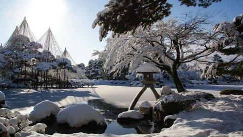 зима, снег, сад, озеро, лампа, свет, солнце ,
