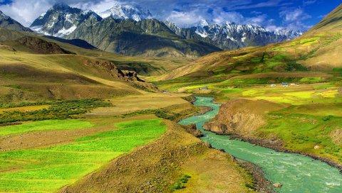 река, горы, долины, весна, поля, цветы, небо, облака
