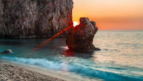 солнце, лучи, камни, блок,