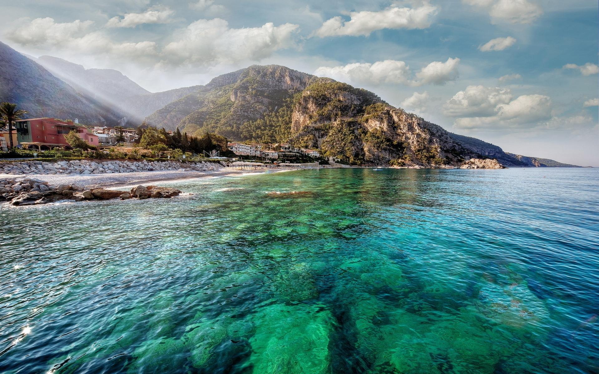 Картинки гора, побережье, остров, вода, прозрачное, дно, рифы, солнце, свет , фото и обои на рабочий стол