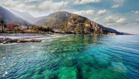 гора, побережье, остров, вода, прозрачное, дно, рифы, солнце, свет ,