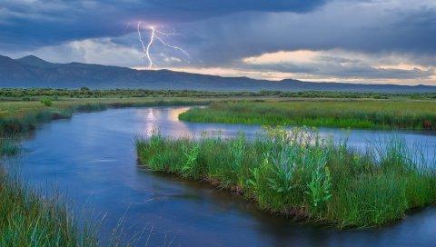 молния, река, остров, трава, гроза, небо, облачно, облака