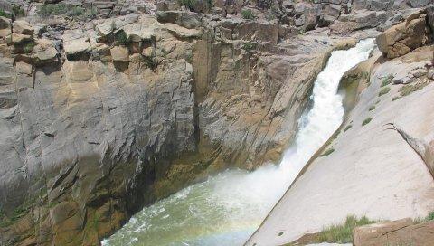 Скалы, река, ущелье, ручей, радуга, сырость