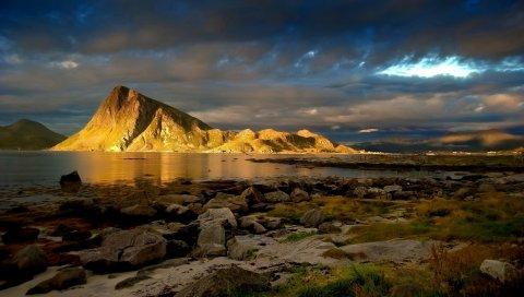 Гора, освещение, защищенный, каменистый, трава, небо, облака, плотный, блеск