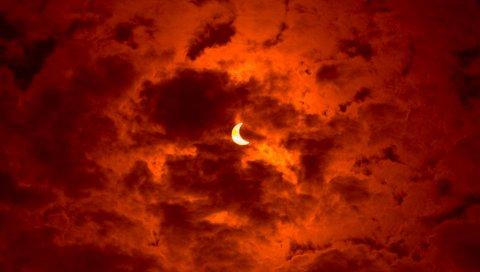 Затмение, луна, солнце, небо, оранжевый