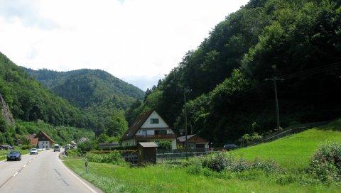 Германия, дорога, домик, асфальт, горы