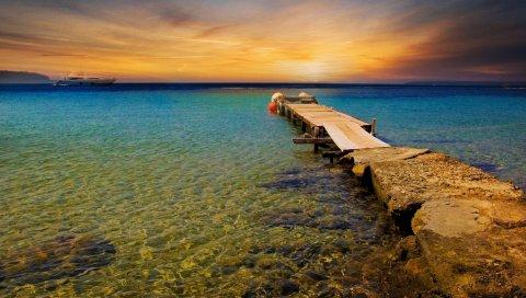 Пирс, волнорез, море, закат, вечер, яхта, горизонт, вода, прозрачный