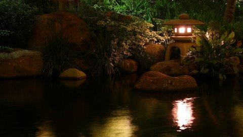 Лампа, пруд, свет, фарфор, камни, отражение, ночь, растительность