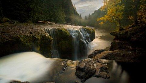 Камни, река, ручей, водопад, осень, деревья, перерыв, вечер, облачно