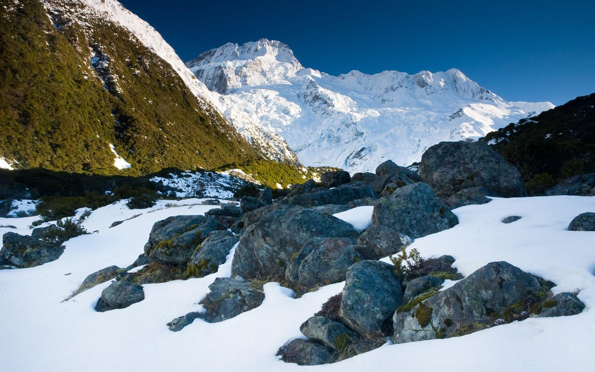 Картинки Камни, снег, горы, талые пятна, весна, свет фото и обои на рабочий стол