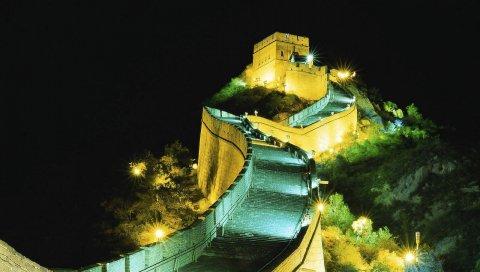 стен, ночь, подсветка, ориентир, Китай