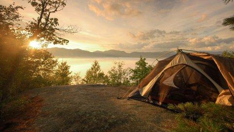 палатки, берег, озеро, закат, романтика, небо