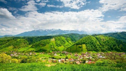 холмы, горы, дом, поселок, ярко, летние