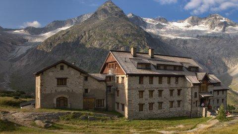 дом, гора, гостиница, строительство, полуденная, люди