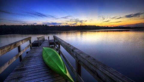 лодка, причал, берег, перевернутые, зеленый, вечер