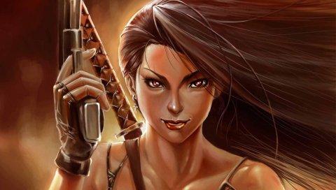 девушка, волосы, воин, оружие, меч