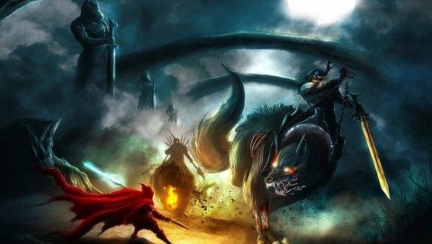 существа, монстры, битва, полная луна, ночь