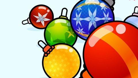 Рождественские украшения, воздушные шары, разнообразие, картина