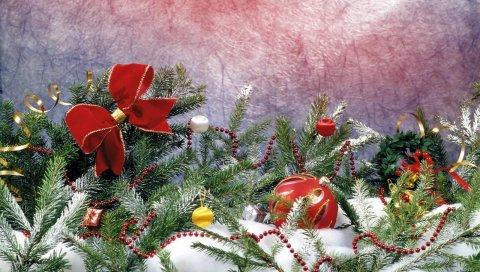 Игла, снег, украшение, праздник, атрибуты