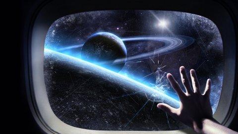 Стекло, корабль, рука, космос, планета, орбита