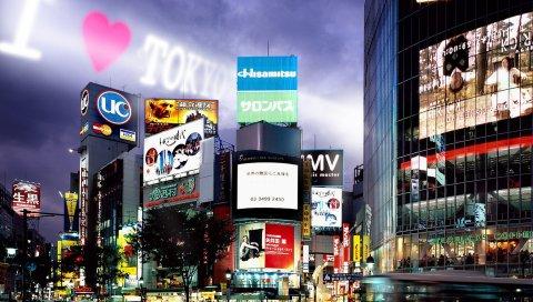 Токио, здания, ночь, реклама