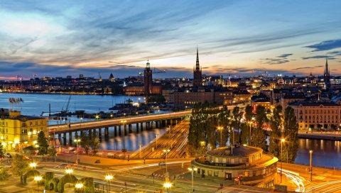 Стокгольм, Швеция, вечер, огни города