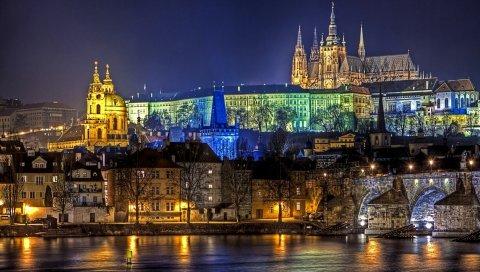 Прага, Чарльз мост, ночь, огни