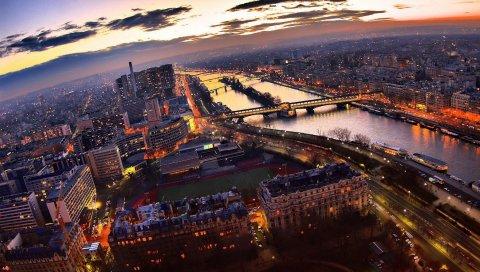 Париж, небоскребы, ночь, свет, мост