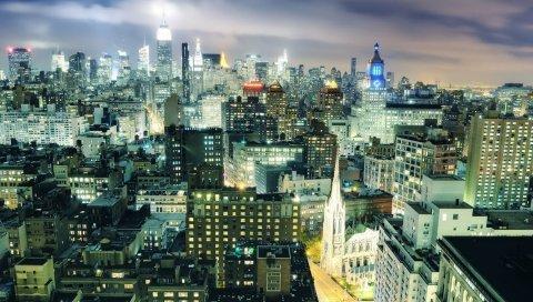 Нью-Йорк, ночь, здание, вид сверху