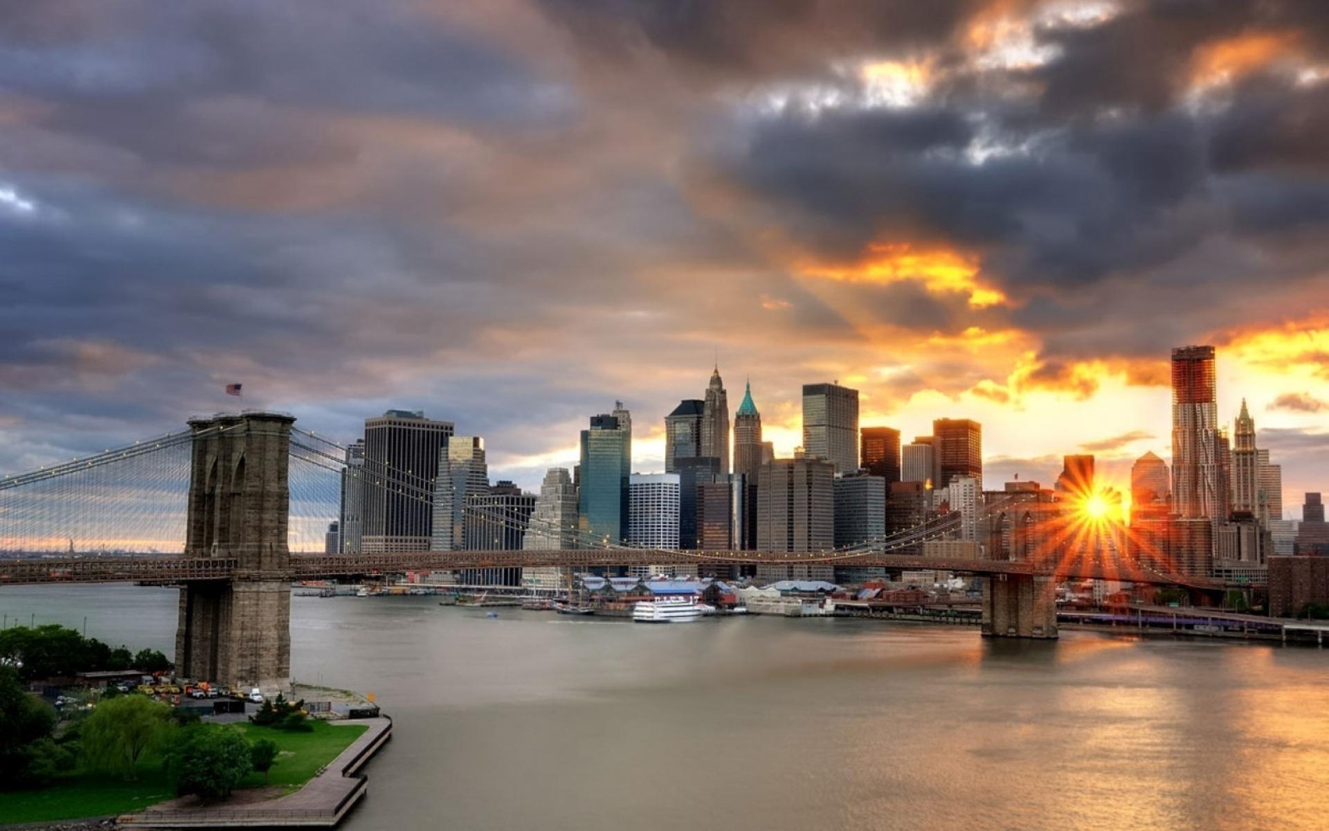 Картинки Нью-Йорк, мост, свет, закат, здания, небоскребы фото и обои на рабочий стол