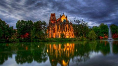 Германия, парк, собор, фонтан, церковь, пруд, деревья