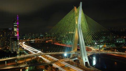 Бразилия, мост, здание, ночь