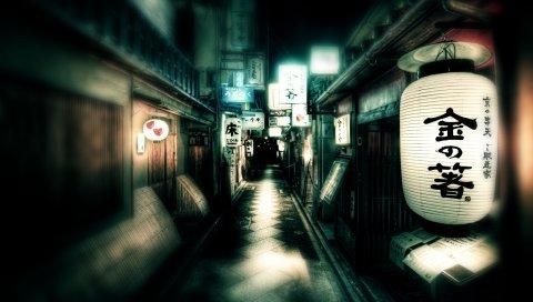 Япония, улица, огни
