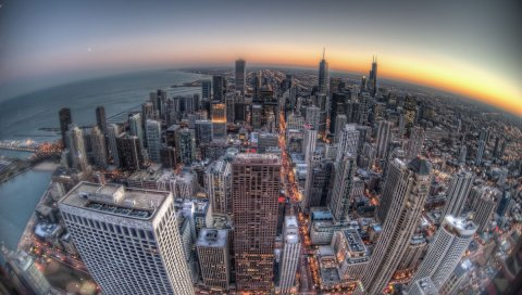 Чикаго, здания, небоскребы, закат, рыбий глаз
