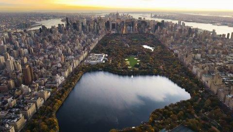 Центральный парк, панорама, ночь, Нью-Йорк, озеро, небоскребы, город, манхэттен