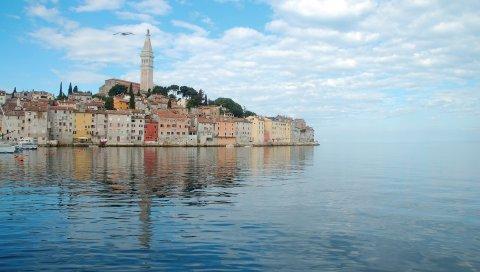 Хорватия, море, синий, спокойный, небо, облака