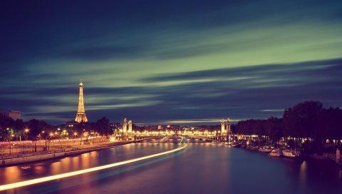 Франция, Париж, река, свет, ночь, Эйфелева башня
