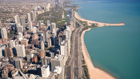 Usa, illinois, chicago, города, дороги, береговая линия, здания, океан, пляж, высотные здания, транспорт, автомобиль, стадион, парк, волноломы