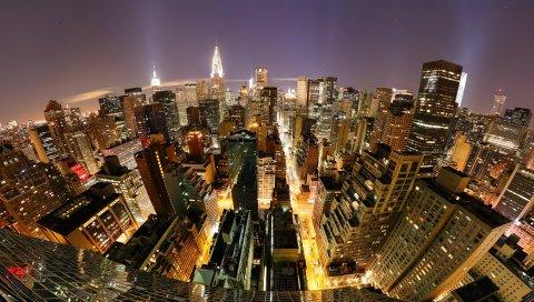 Нью-Йорк, Манхэттен, рыбий глаз, небоскребы