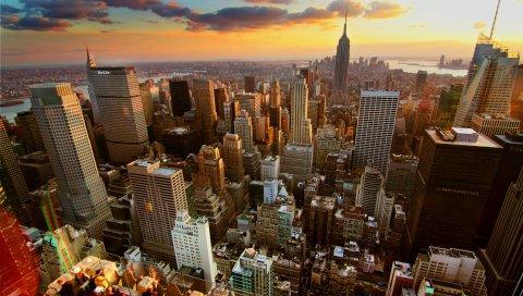 Нью-Йорк, дом, небоскребы, крыши, закат