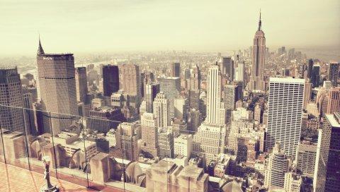 Нью-Йорк, город, небо, дом, небоскреб