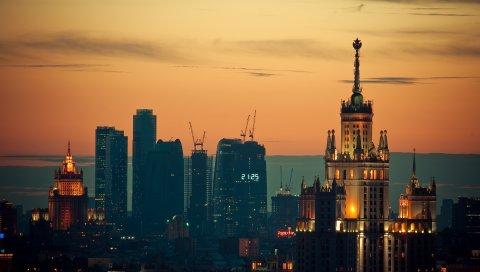 Москва, закат, огни