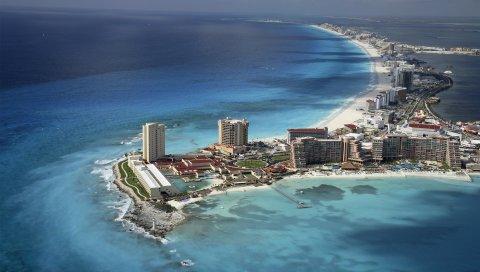 Мексика, океан, вода, дом, пляж, небо